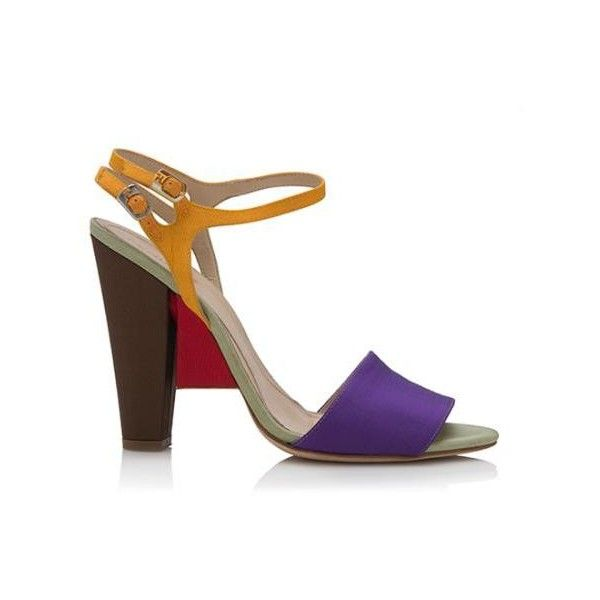 b72da488087 Pre-Owned Fendi Grosgrain Colorblock Sandals ( 275) ❤ liked on Polyvore  featuring shoes