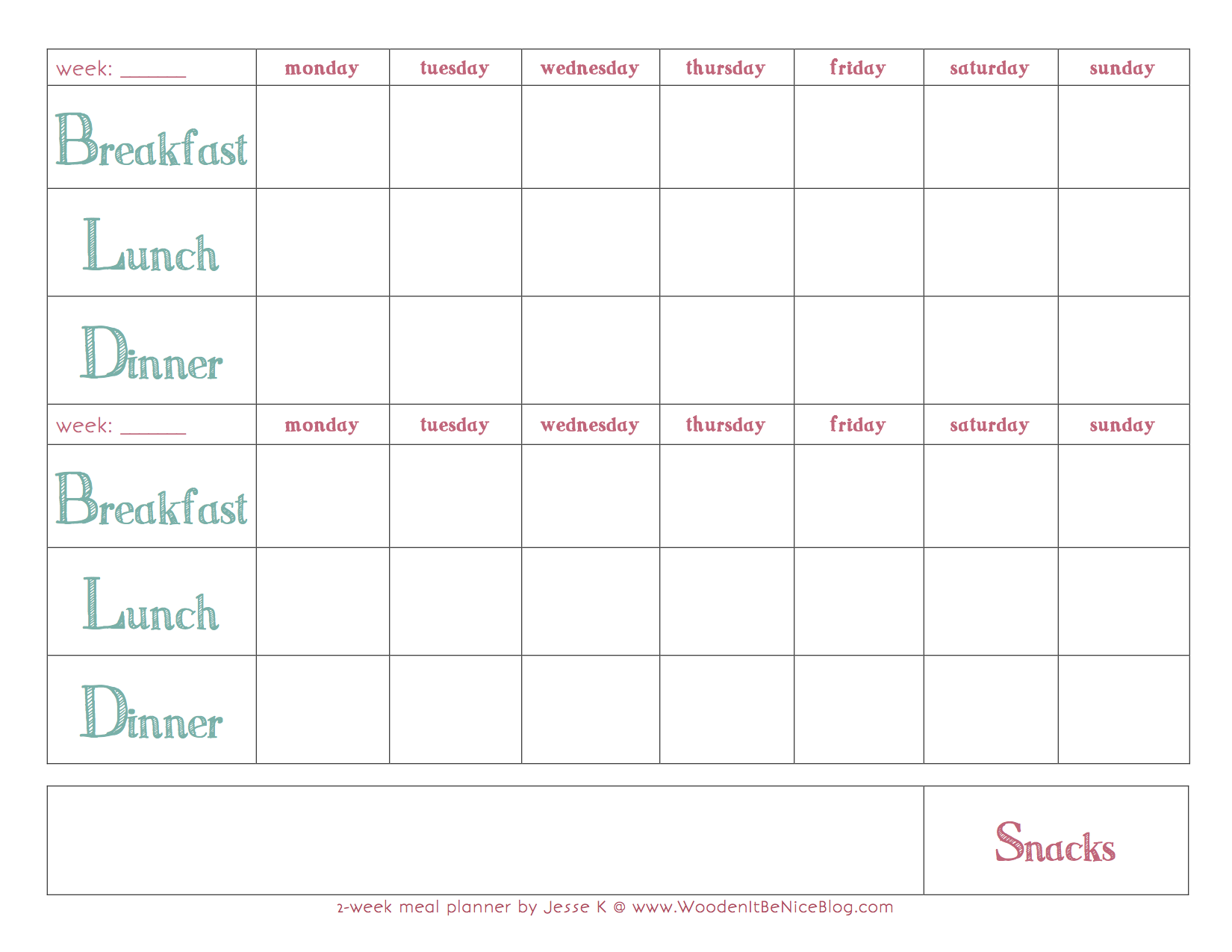 Weekly Meal Plan Template In 2019 Meal Planning Calendar