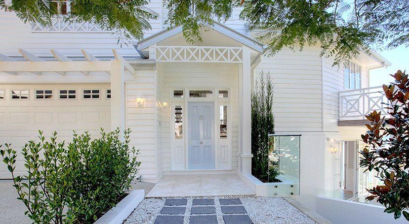Garage Door Windows Pergola Completed Homes Gallery Hamptons Evermore Facade House House Exterior Hamptons House