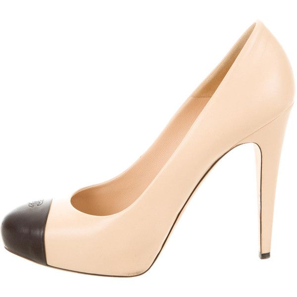 3a33b68f37 Pre-owned Chanel Platform CC Cap-Toe Pumps (5,110 EGP) ❤ liked on Polyvore  featuring shoes, pumps, neutrals, leather shoes, black platform pumps,  round toe ...
