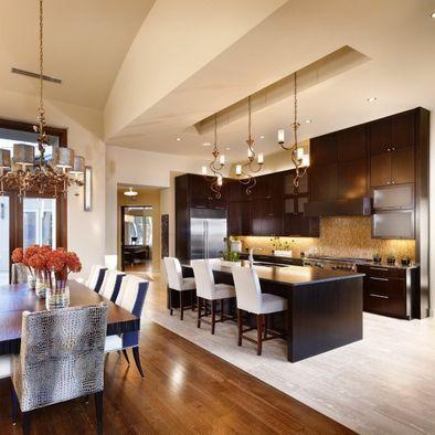 kitchen dining area open floorplan, tile floor transition ...
