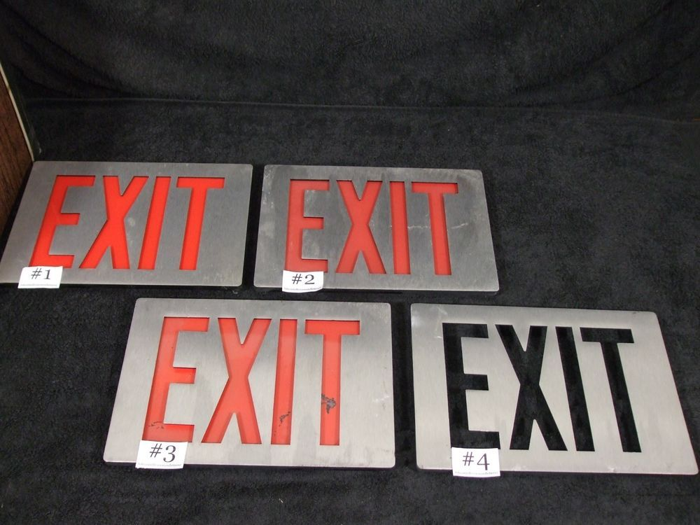 Aluminum Red Letter Exit Sign Wall Decor Man Cave In Outside - exit letter