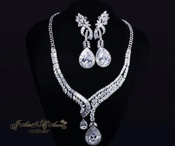 d21d40f701c Diamond Simulant Bridal Jewelry Set, REGAL JEWELS Cubic Zirconia ...