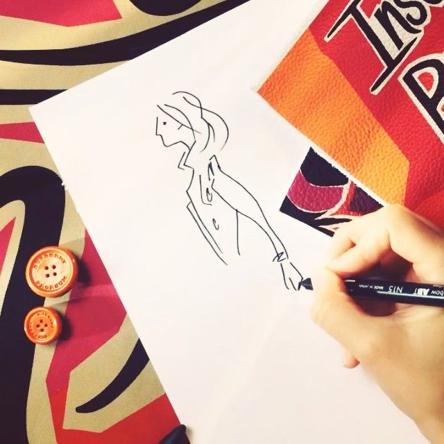 Straight from the #Burberry design studios: a sketch from the S/S15 collection #LFW #hyperlapse