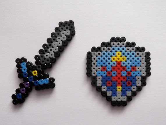 Master Sword And Hylian Shield Legend Of Zelda Perler Bead Sprite