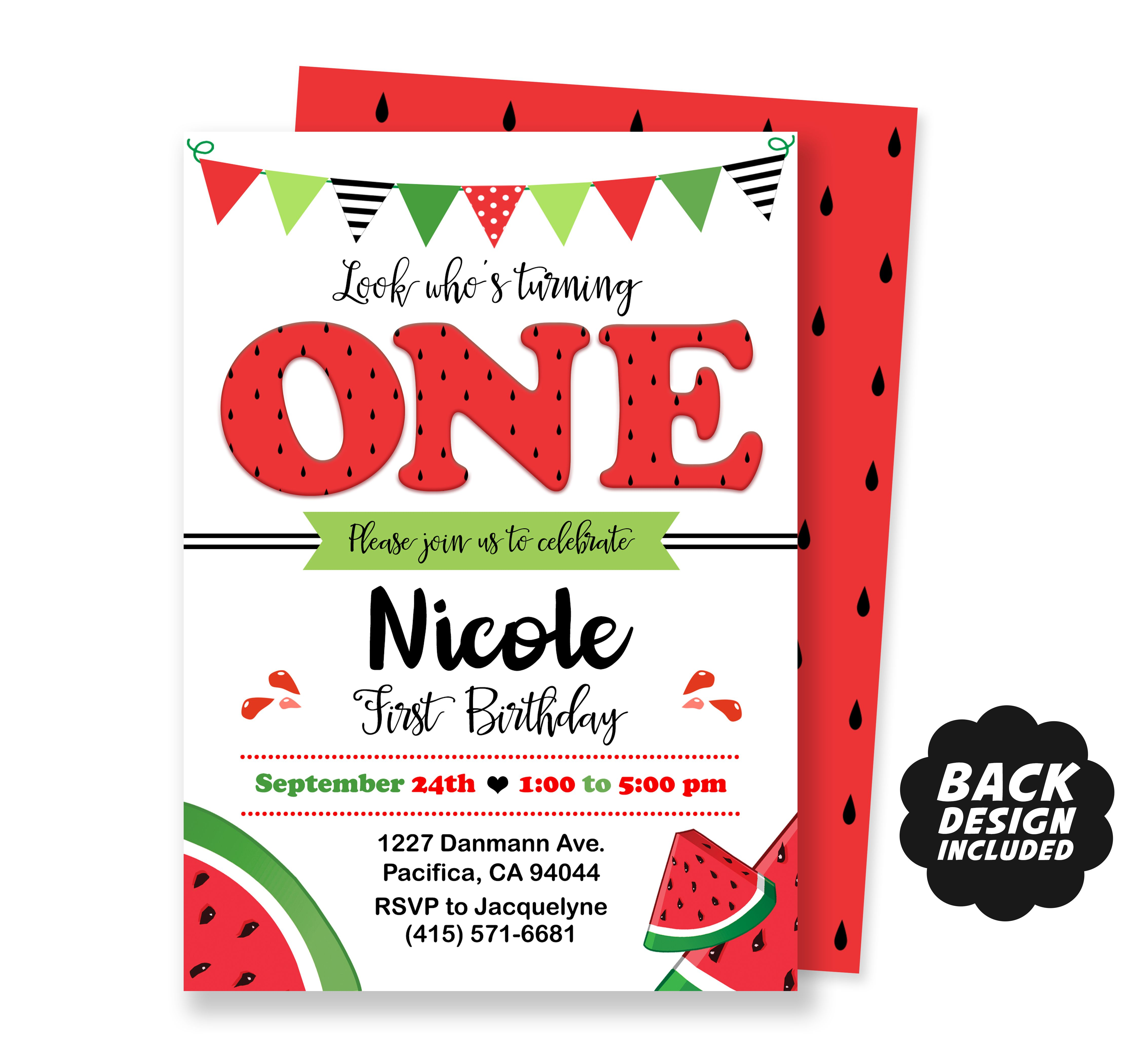 Watermelon Invitation, Watermelon Birthday Invitation, Red