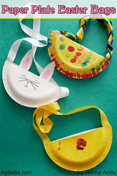 Make Easter bags out of Paper Plates. Easter craft for children.  sc 1 st  Pinterest & Nanny Anitau0027s Paper Plate Easter Bags | Easter crafts Easter and Crafts