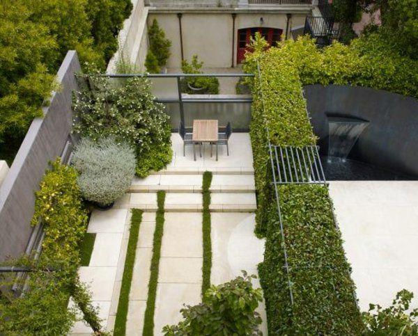 außenarchitektur ideen moderne gartengestaltung wasserfall, Garten und bauen