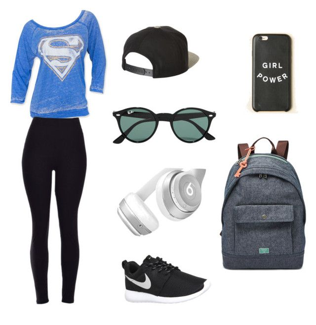 """""""Charlotte outfit : Girl Power"""" by caitlynlaycock ❤ liked on Polyvore featuring NIKE, Brixton, Ray-Ban, Beats by Dr. Dre and FOSSIL"""