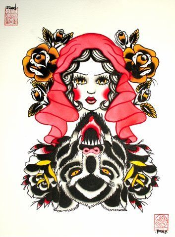 f000cb9803d74 little red riding hood tattoos | Fairy Tales | Red riding hood wolf ...