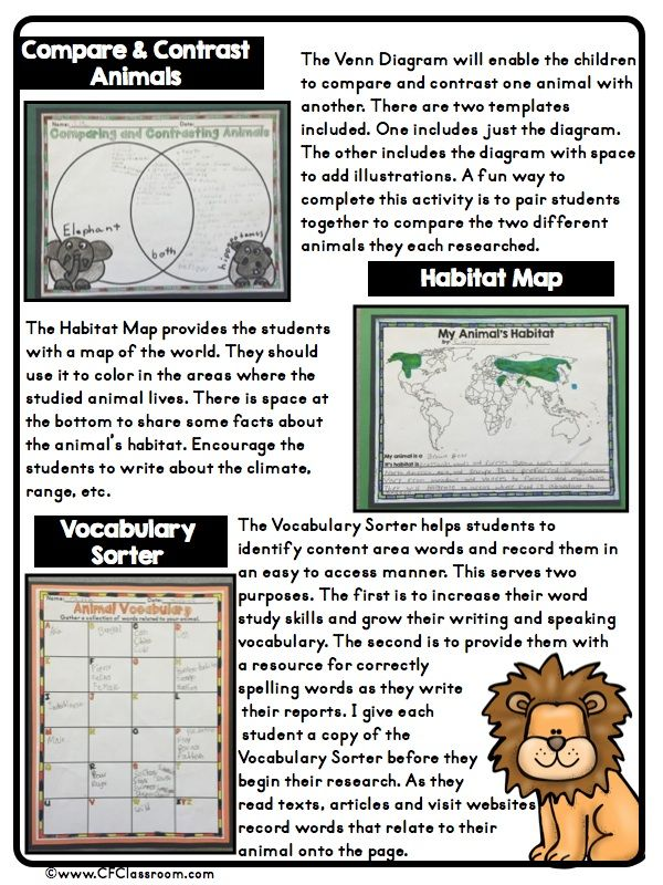 Classroom Enrichment Ideas ~ Clutter free classroom animal research projects guided