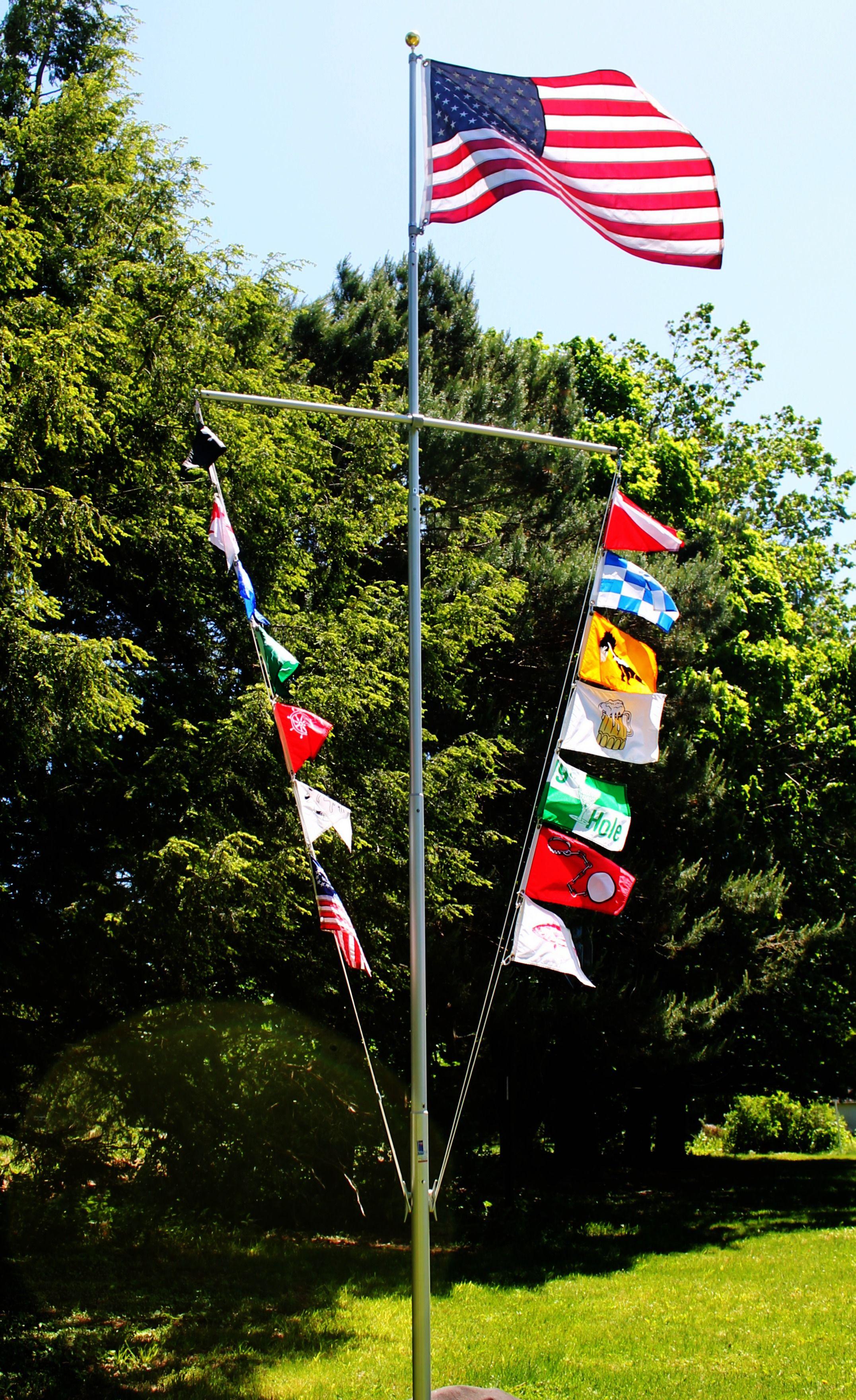 16 Classic Nautical Flagpole Kit Nautipole Telepole Manufacturing Shopping Cart Telescoping Flagpole Nautical Flags Nautical