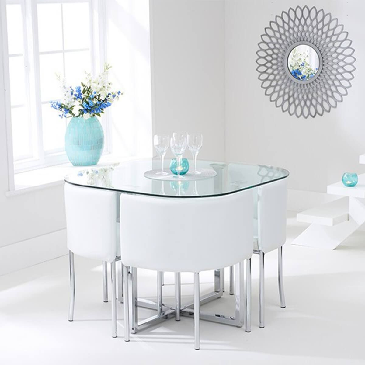 The Abingdon Glass 4 Seater Stowaway Dining Set Is A Distinctly Stylish Set And Is Extraordinarily Practical F Glass Dining Table Dining Table Glass Dining Set