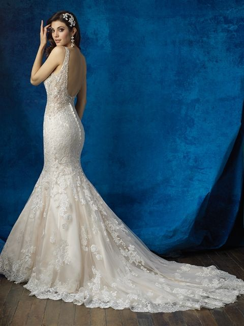 Allure Style 9356 Low Back Wedding Gown Illusion Lace And Beading
