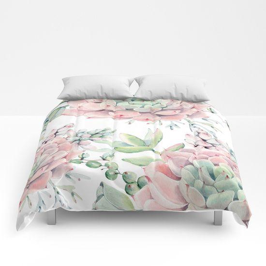 Succulent Garden Flower Roses Art Pink, Mint Green And Pink Bedding