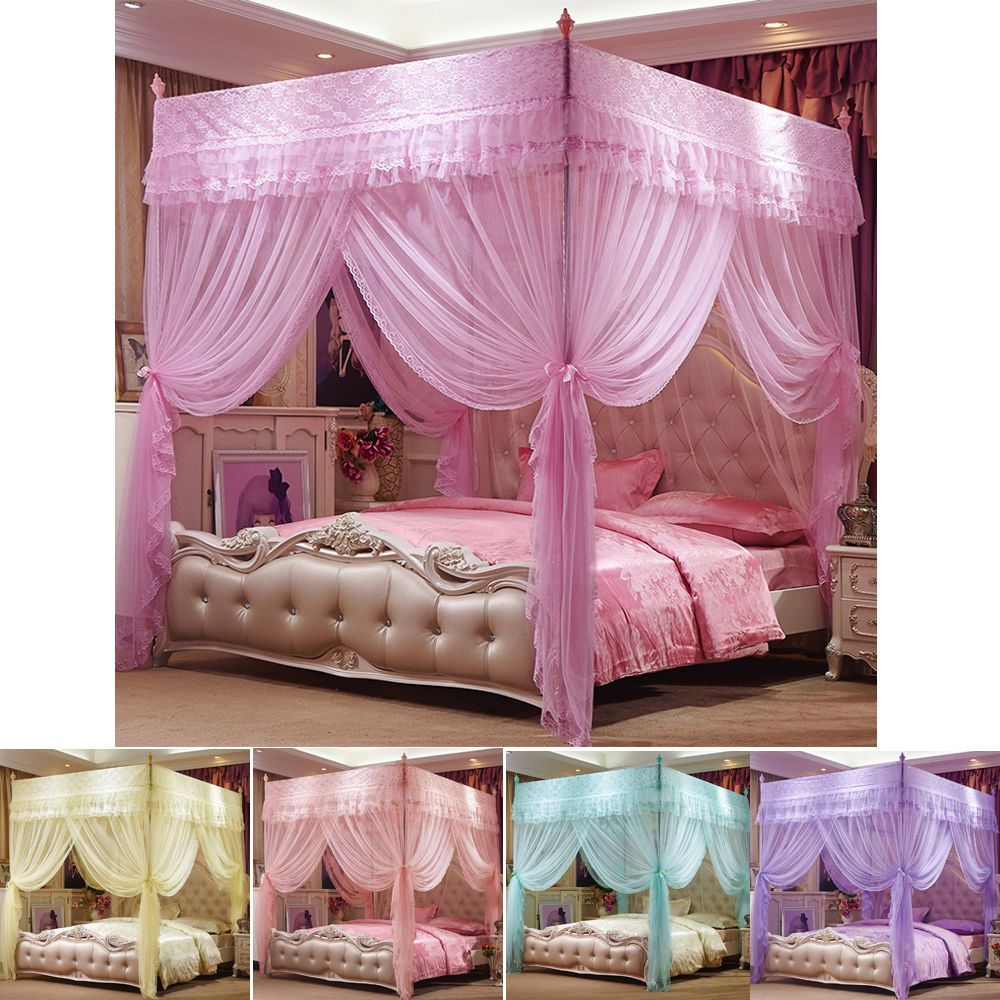 4 Corner Post Bed Curtain Canopy Mosquito Netting Or Bed Frame Twin Queen Size Unbranded Modern Twin Bed Frame Bed Pink Bed Canopy