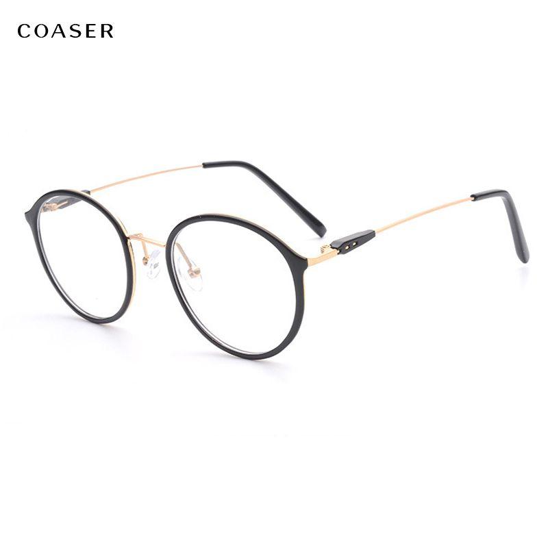 cdd9118676e COASER Super Light Round Vintage Metal TR90 Women Optical Prescription  Glasses Frame Suit Myopia Eyewear Hipster Spectacles