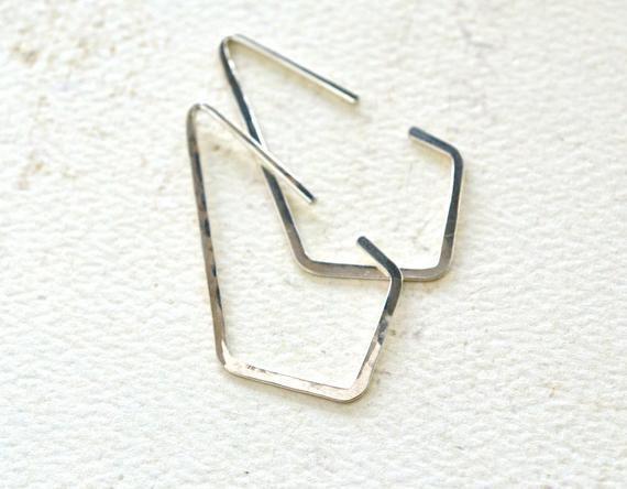 Dunes Creolen  Silber Creolen Silber Kite Creolen geometrische Creolen Crystal Point Creolen E26S