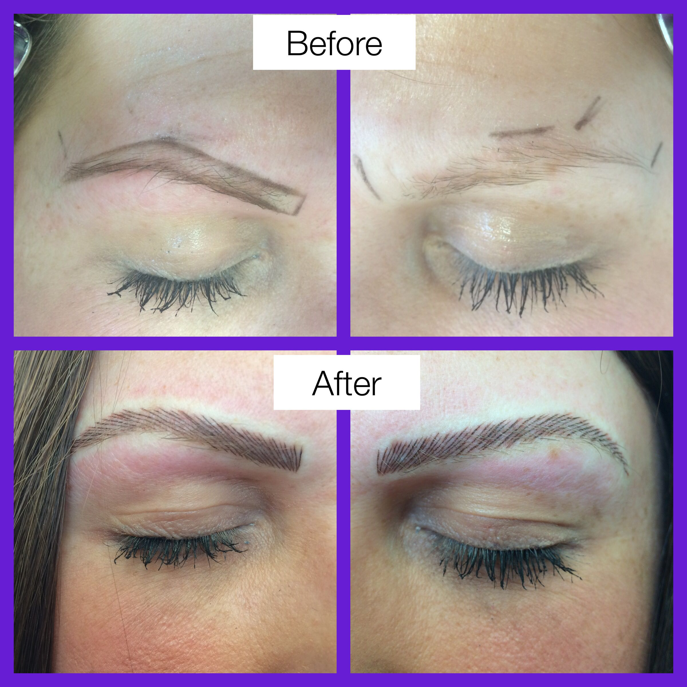 New semi permanent eyebrows hair stroke method  (These don't look