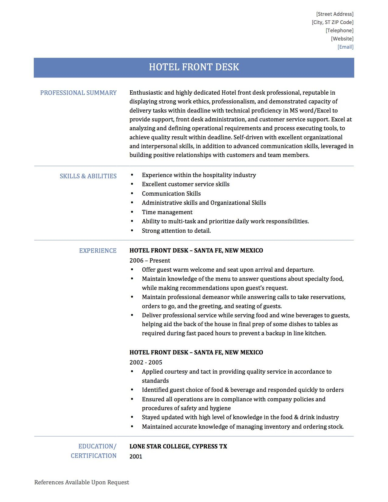 How To Write A Hotel Front Desk Resume in 2020 Manager