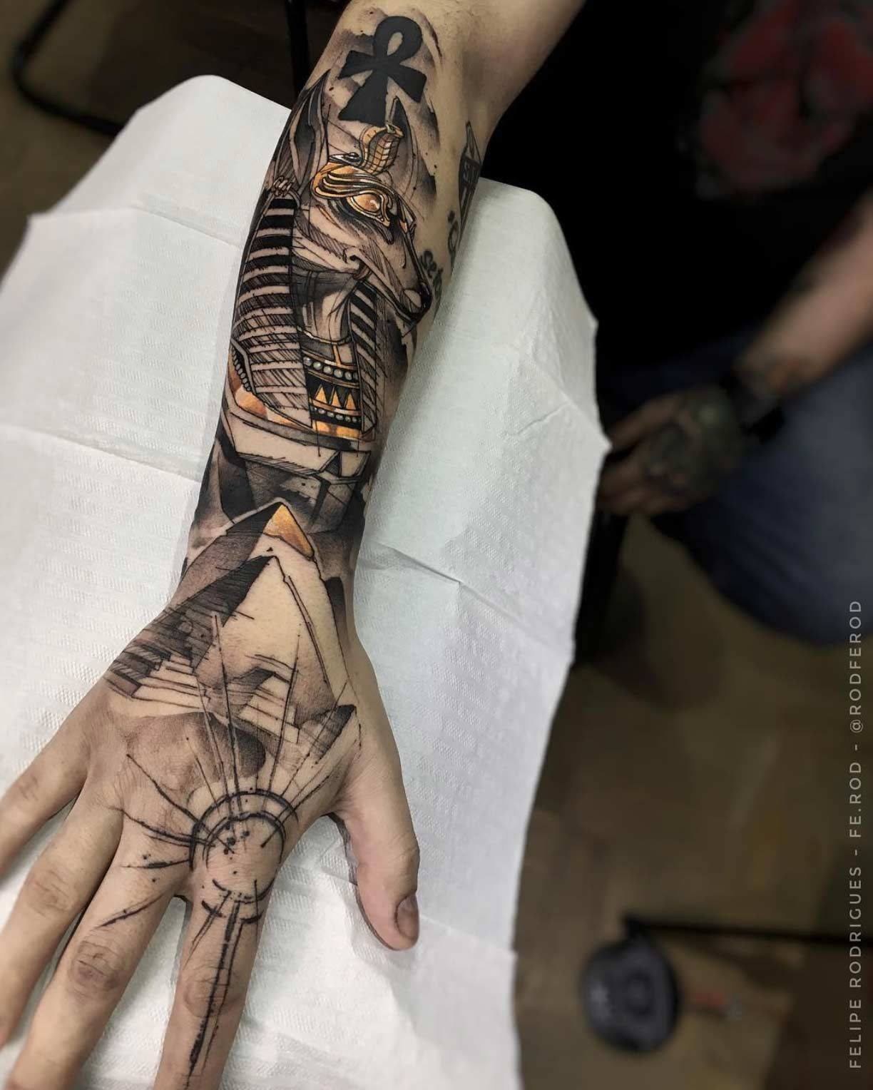 By Felipe Rodrigues Fe Rod Hand Tattoos For Guys Egyptian Tattoo Sleeve Hand Tattoos