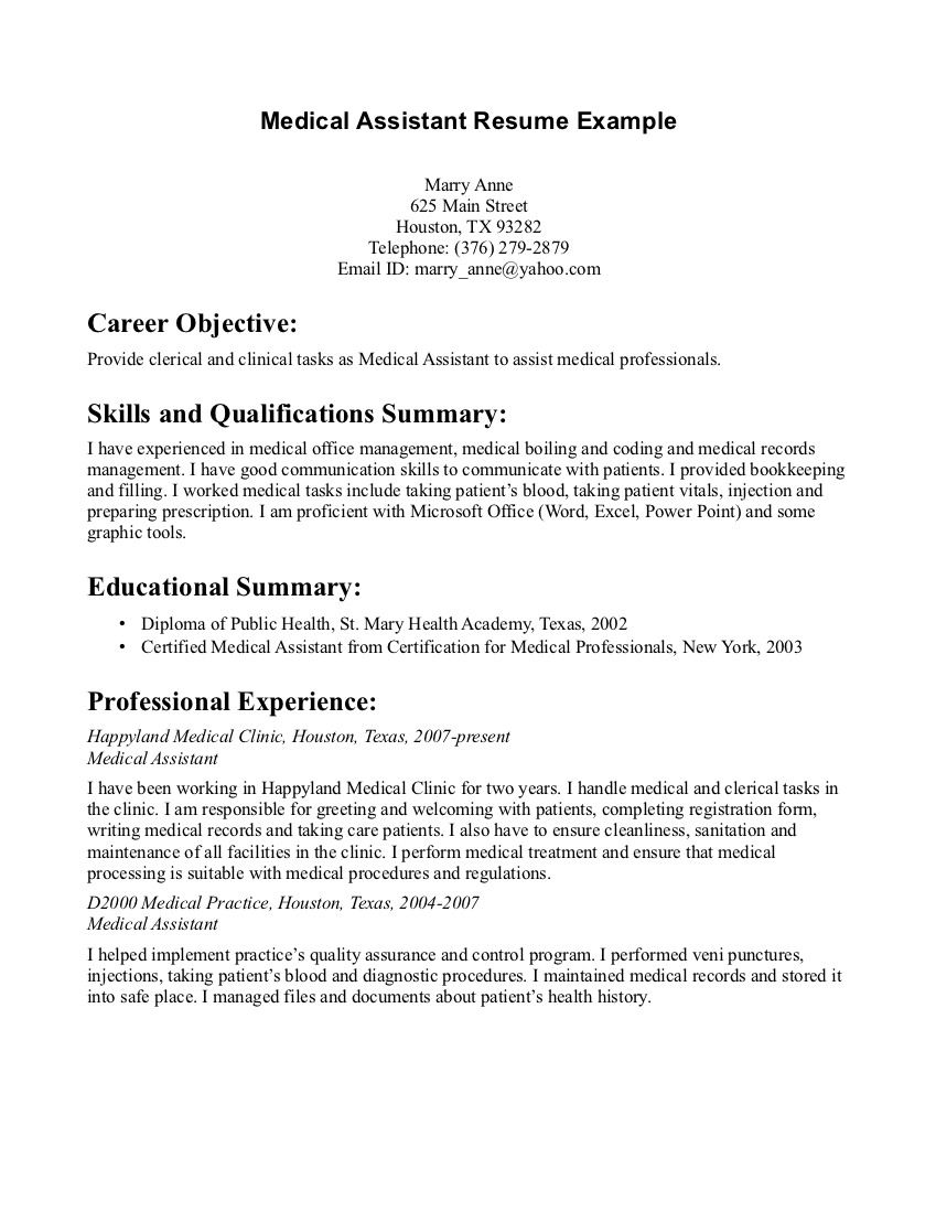 Medical Assistant Resume Objective Examples Pintopresumes On Latest Resume  Pinterest  Sample Resume .