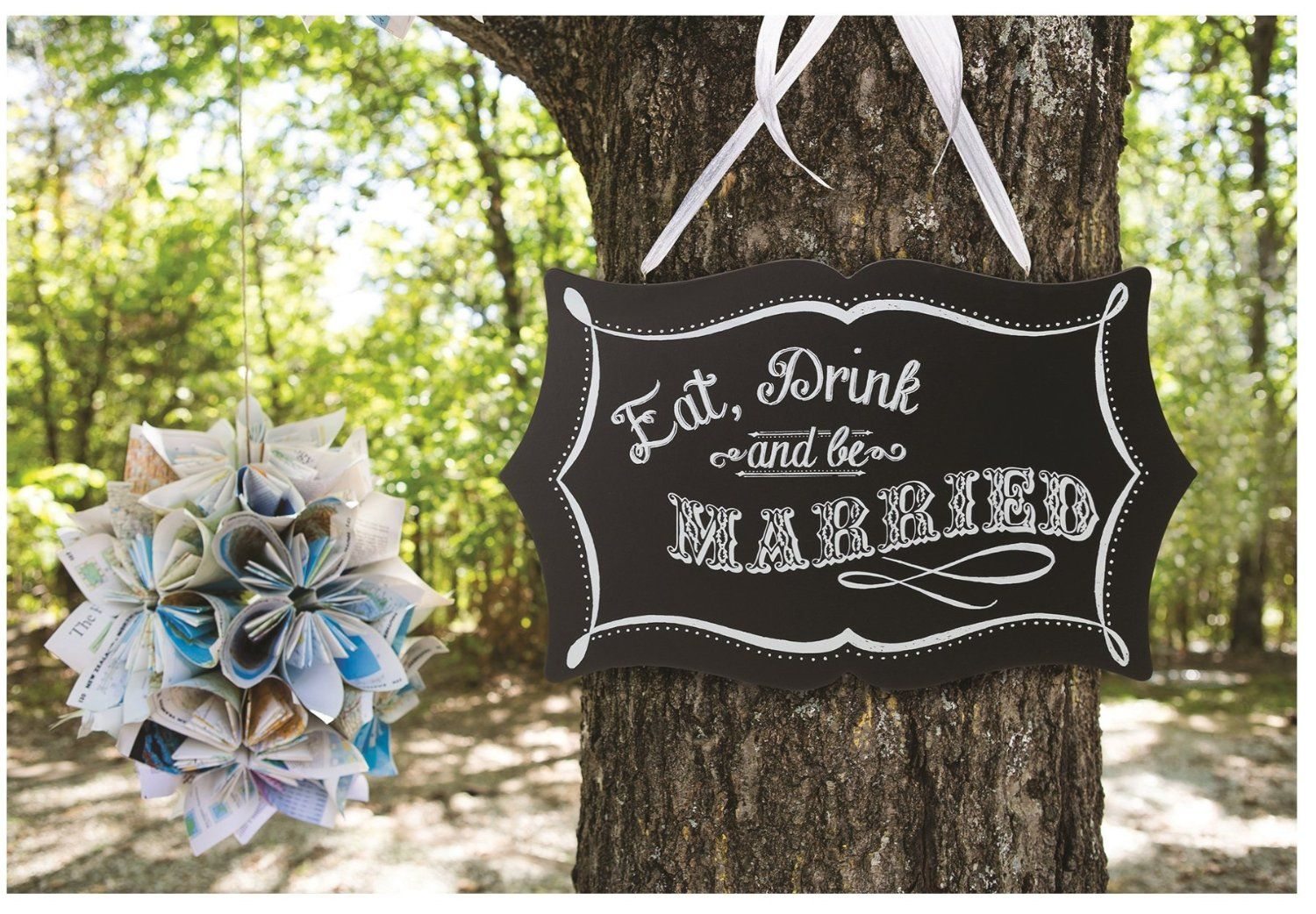 Amazon.com - Lillian Rose Double Sided Chalkboard Eat, Drink and Be Married Sign, 15.5-Inch by 9.5-Inch - Banner And Sign Cloth