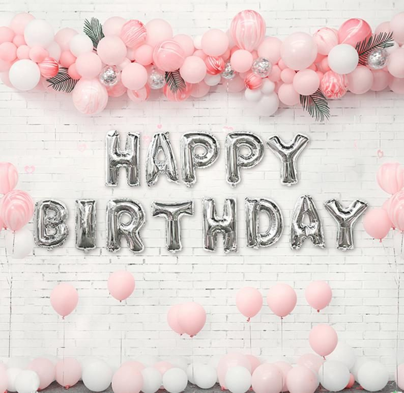 Silver Happy Birthday decor with Pink Balloon Garlands Kit | Birthday Party Banner and Sign Decor | Pink and Silver Girl Birthday Party #21stbirthdaydecorations