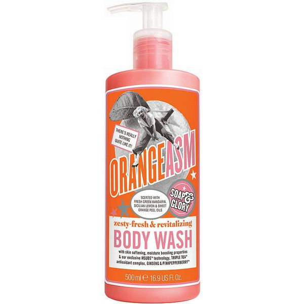Soap & Glory Orangeasm Body Wash 16.9 oz (500 ml) (38 PLN) ❤ liked on Polyvore featuring beauty products, bath & body products, body cleansers and soap & glory