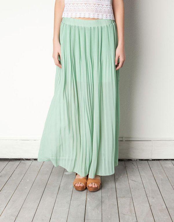 bf231a031 Tendencias: Faldas largas. VERDE MENTA   moda   Faldas largas ...