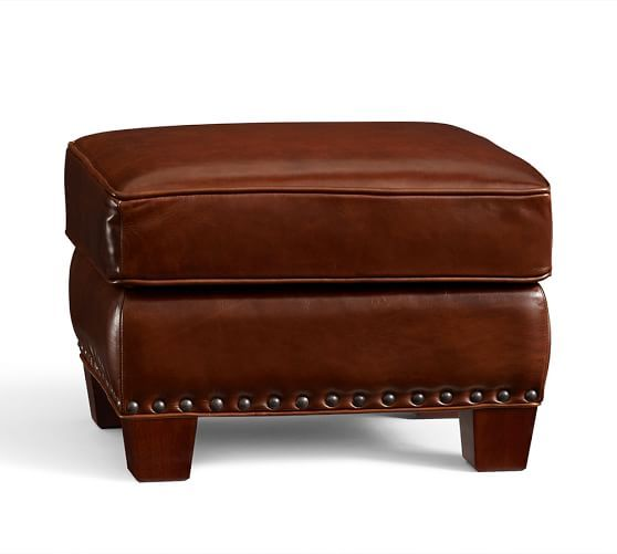 Irving Leather Storage Ottoman with Nailheads Pottery Barn 569