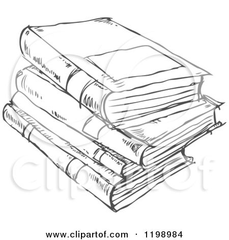 Cartoon of a Black and White Stack of Books Doodle Sketch - Royalty ...