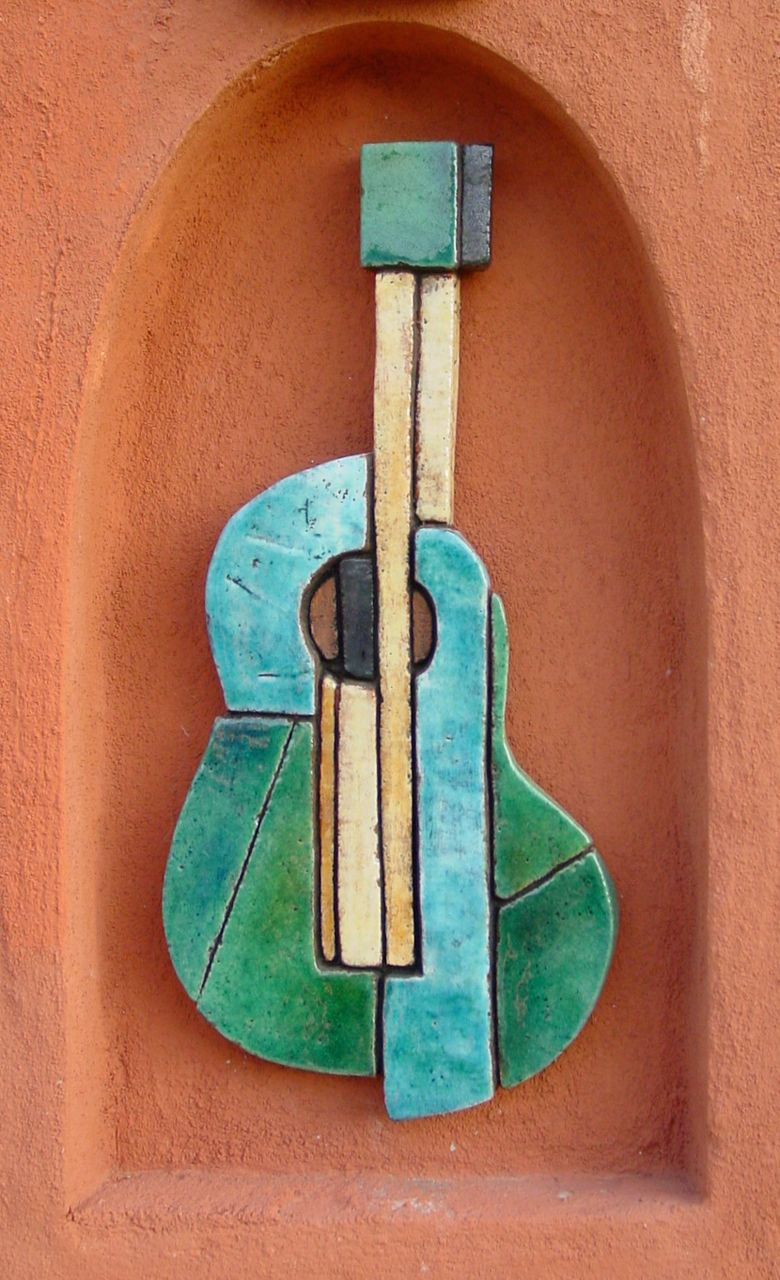 wall art made from ceramic mosaic art garden wall art guitar