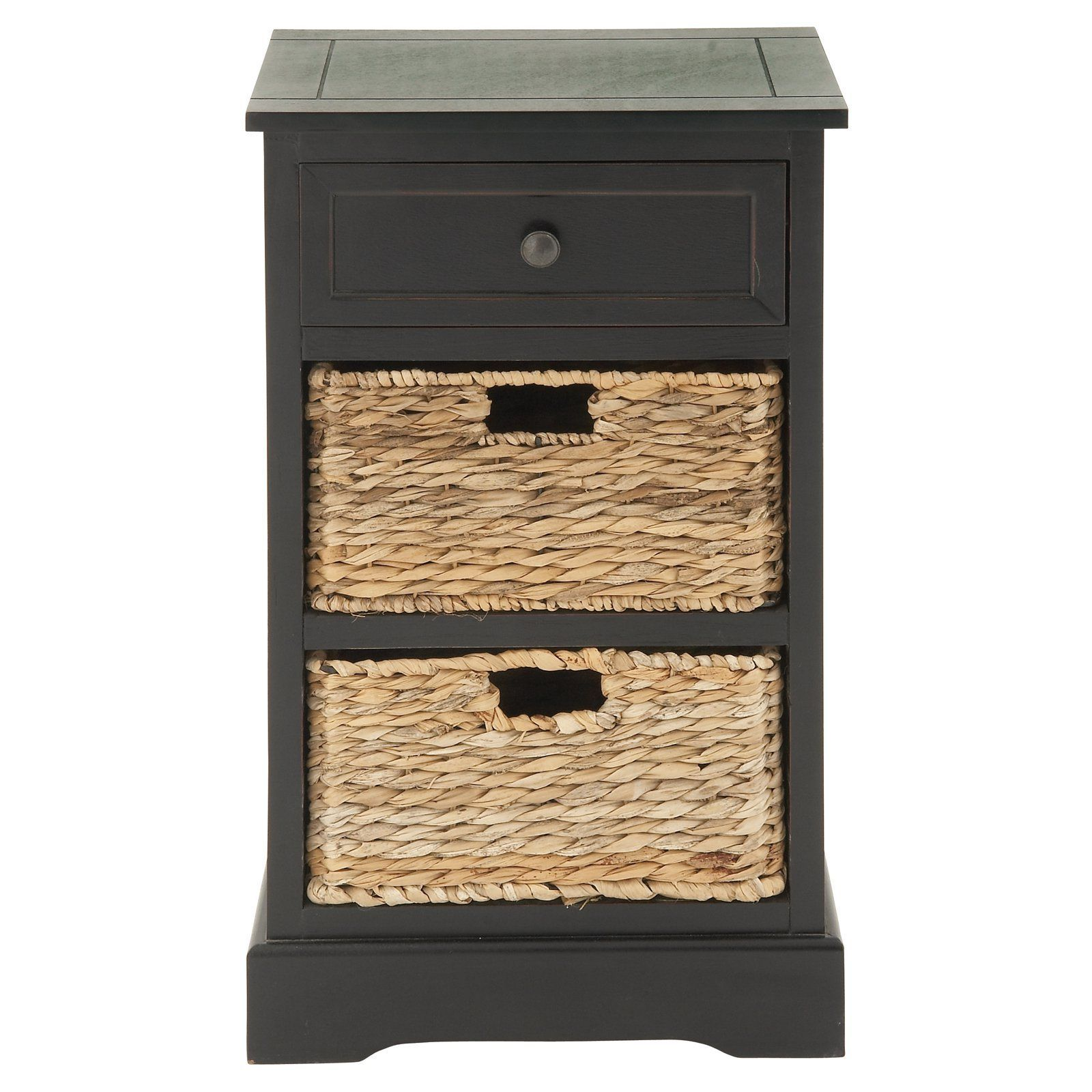 Hallway furniture b&m  DecMode Wooden Side Table with Wicker Baskets  from hayneedle