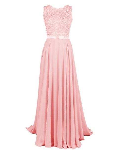dressystar damen chiffon spitze lang formell abendkleider brautjungfernkleider rosa in gr e 36. Black Bedroom Furniture Sets. Home Design Ideas