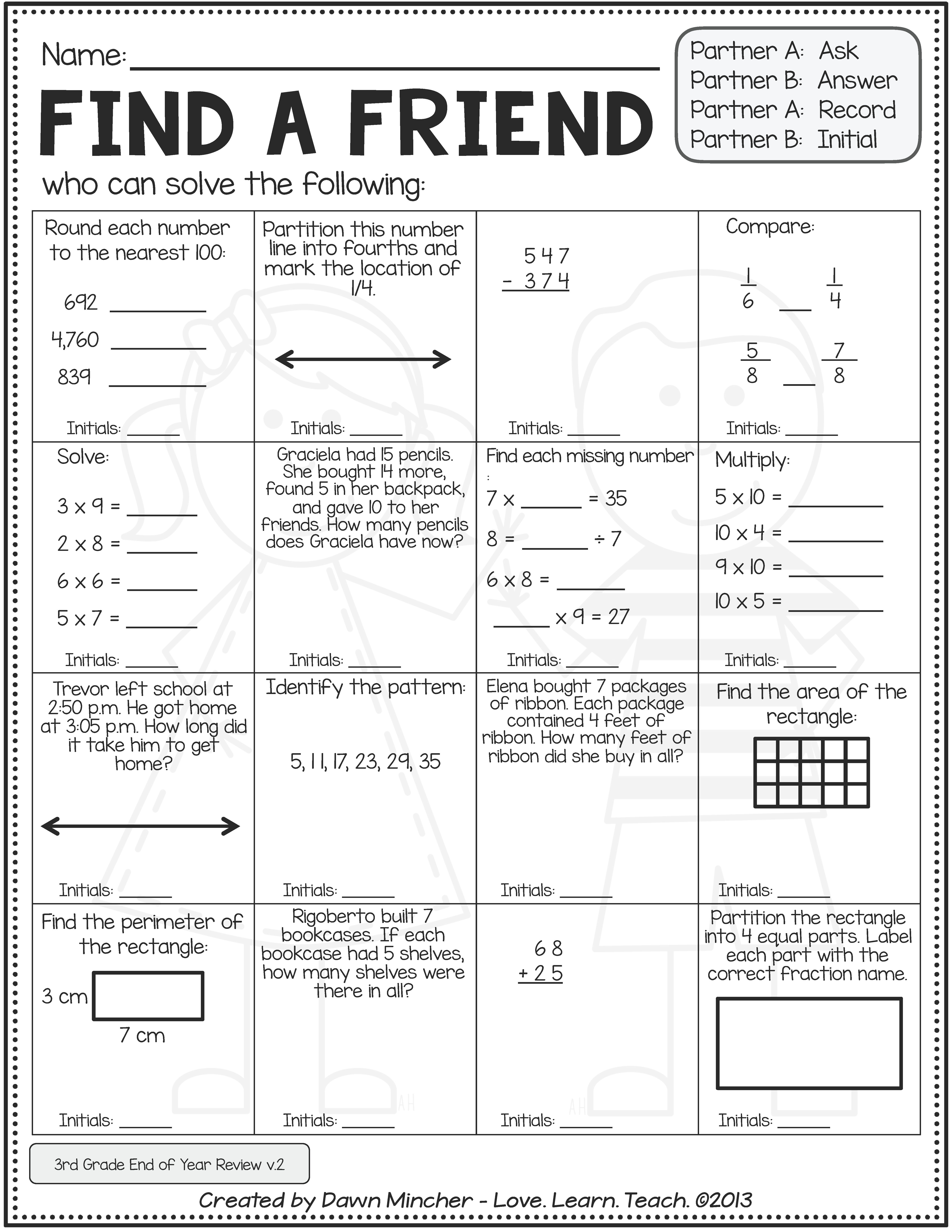 Back To School Activities 4th Grade Math Review Of 3rd