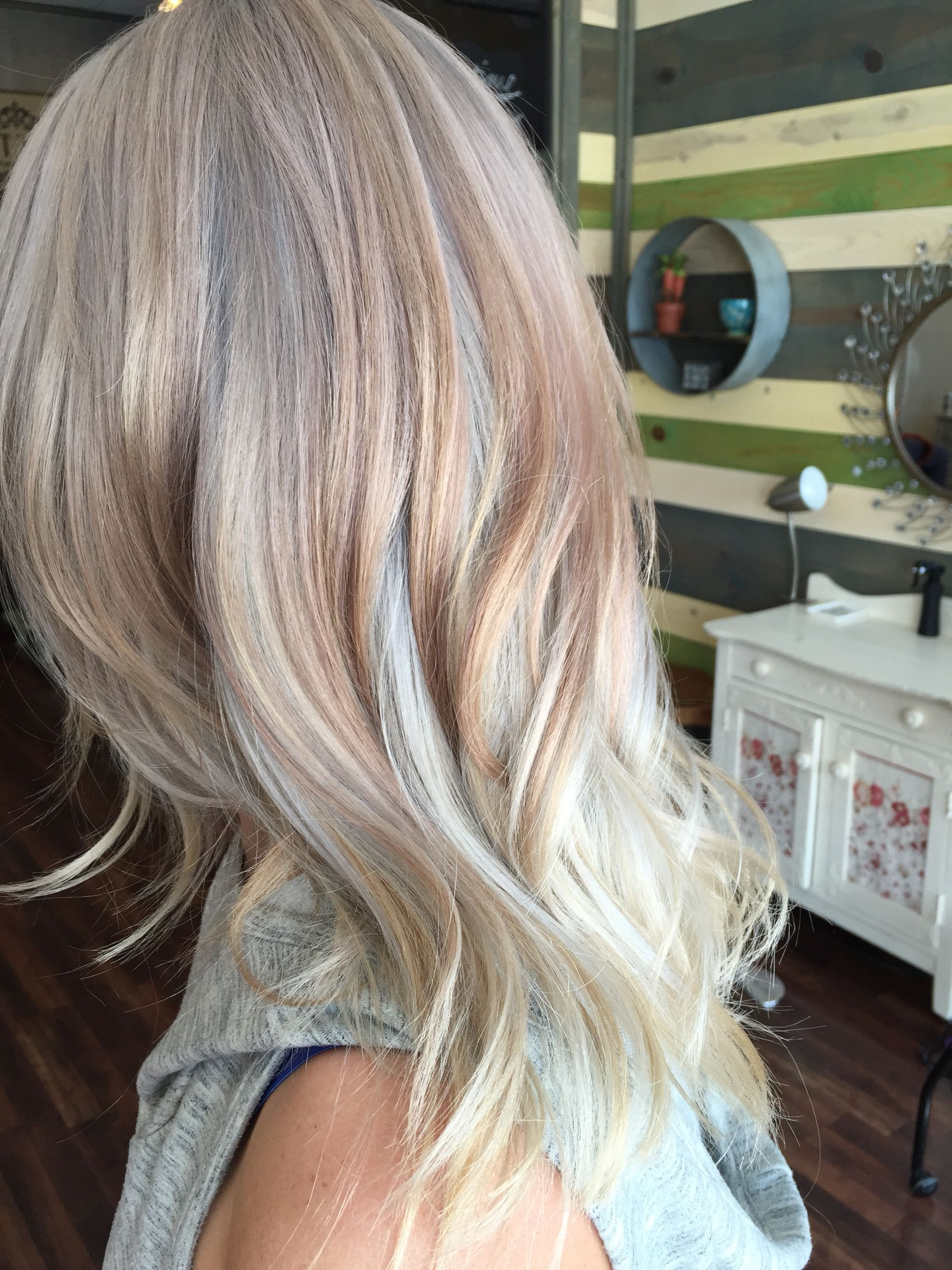 Rose Gold Silver Platinum Blonde Cut Color Style By Amanda