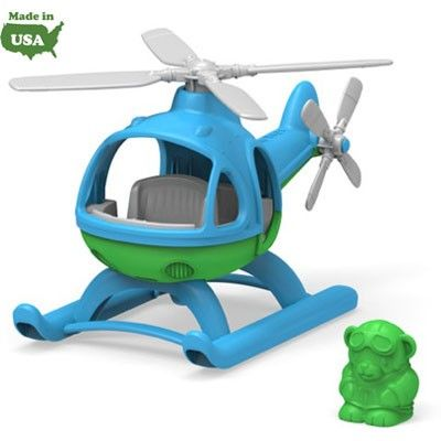 This eco-friendly chopper is made in the USA from 100% recycled plastic milk jugs that save energy and reduce greenhouse gas emissions, and features two spinning rotors and sleek skids on the bottom for easy landings. The Helicopter includes a pilot bear figure that fits perfectly in the spacious cockpit that's complete with a full dashboard and the Green Toys' signature 8-track. No BPA, phthalates, or PVC. Dishwasher safe for easy cleaning.