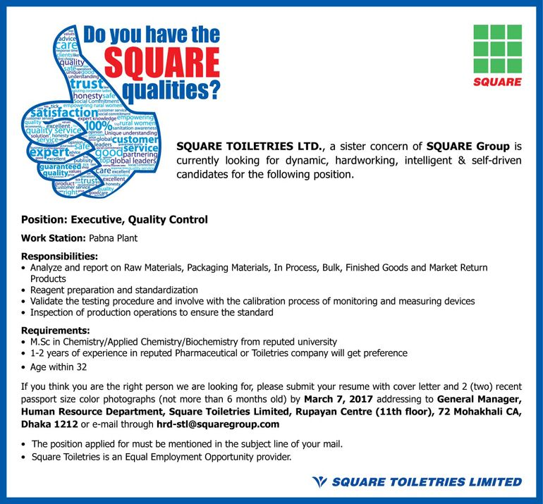 Quality Control Executive Square Toiletries Limited Job Circular