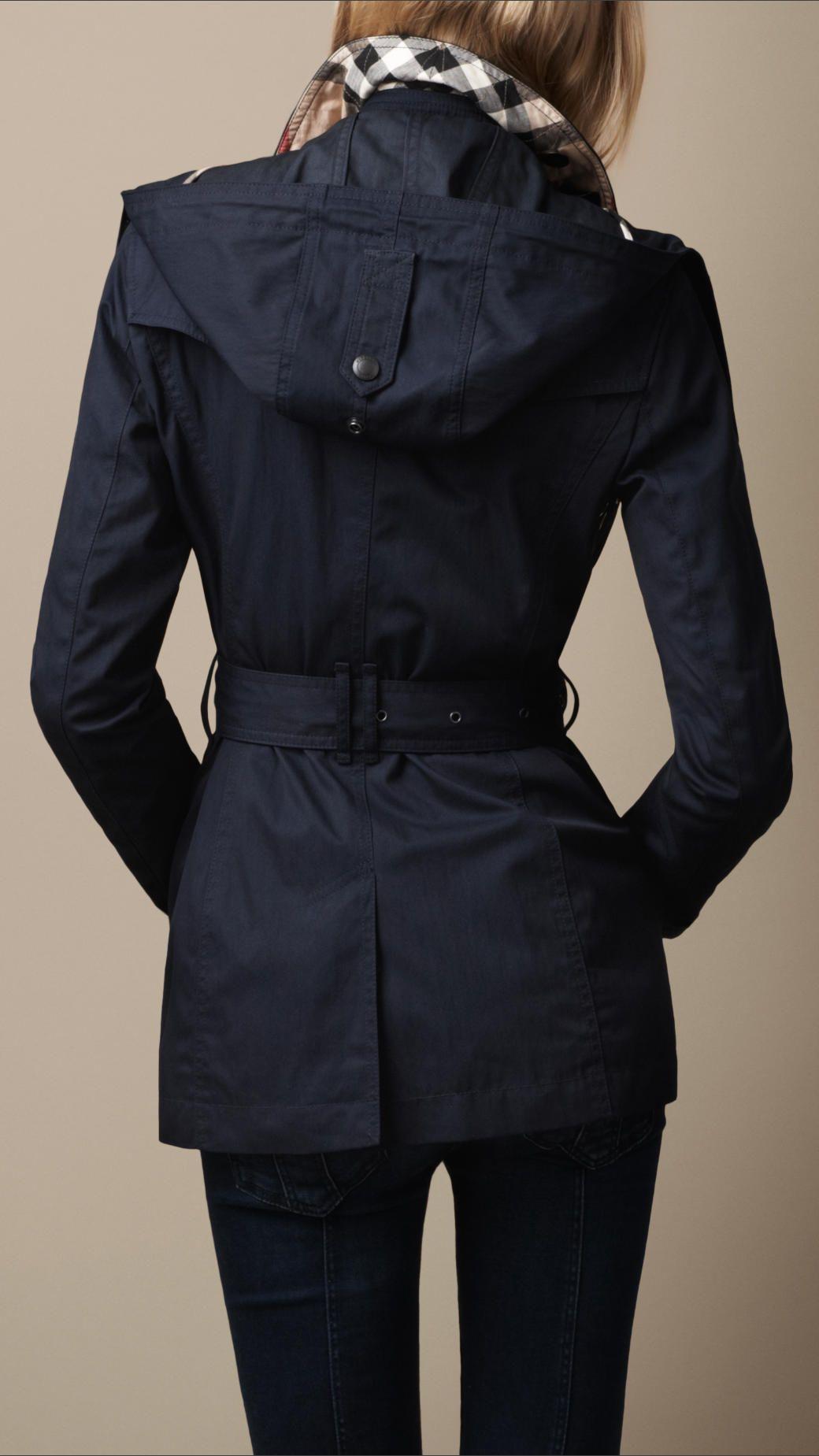 Burberry Short Cotton Nylon Gabardine Detachable Hood Trench Coat ...