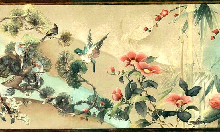 Asian Oriental Flowers & Birds Wallpaper Wall Border