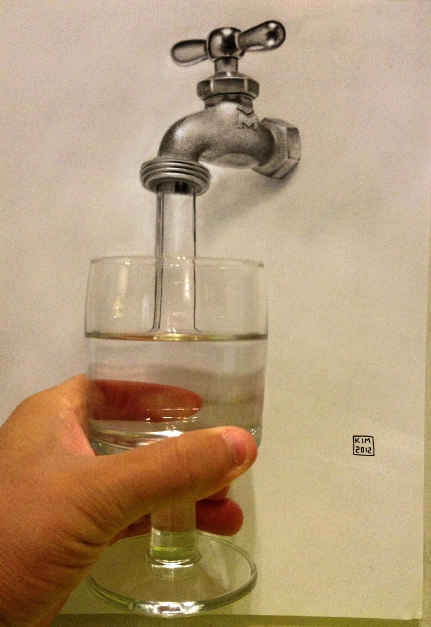 realistic 3d draw water tap glass