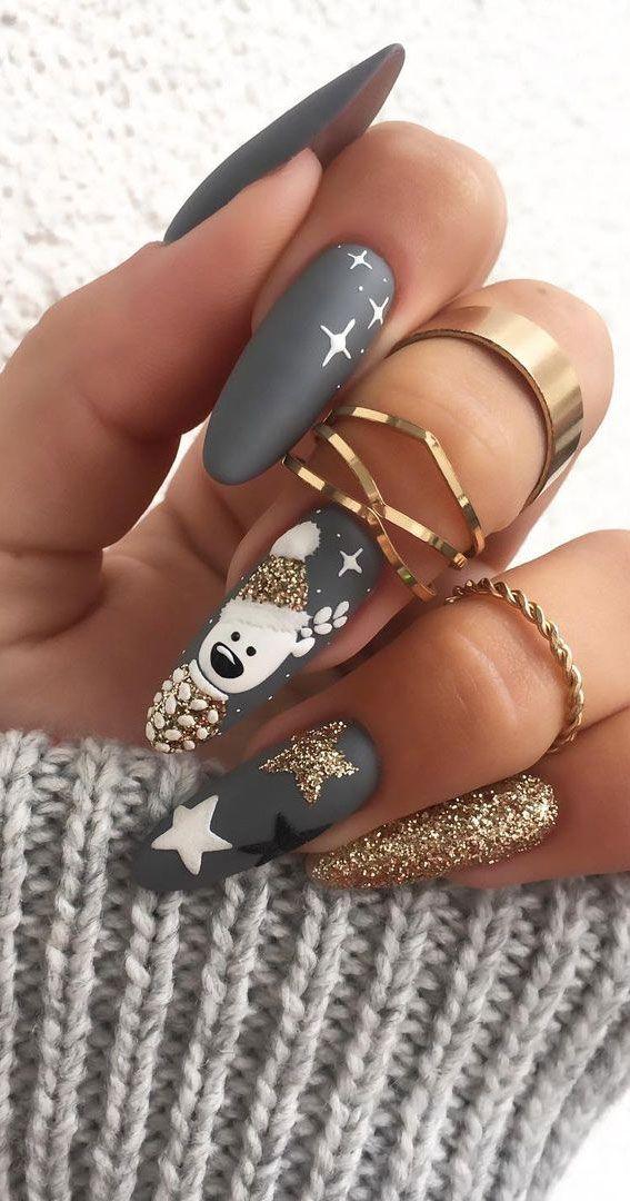 Colores y diseños de uñas bastante festivos 2020: uñas navideñas grises mate  – Boda fotos