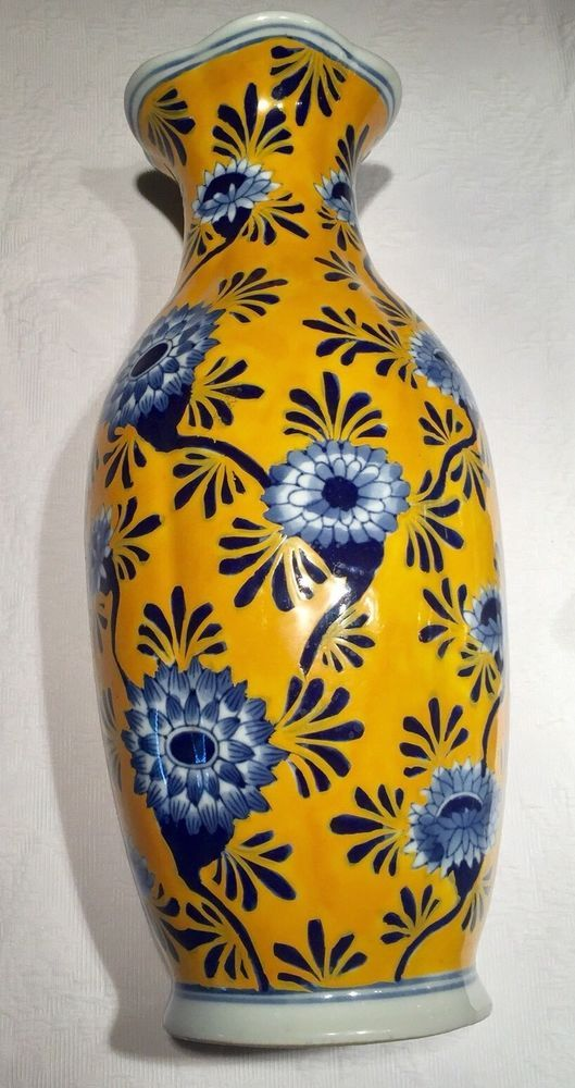 Imperial China Rare Fine Porcelain Seymour Mann Yellow Vase Blue