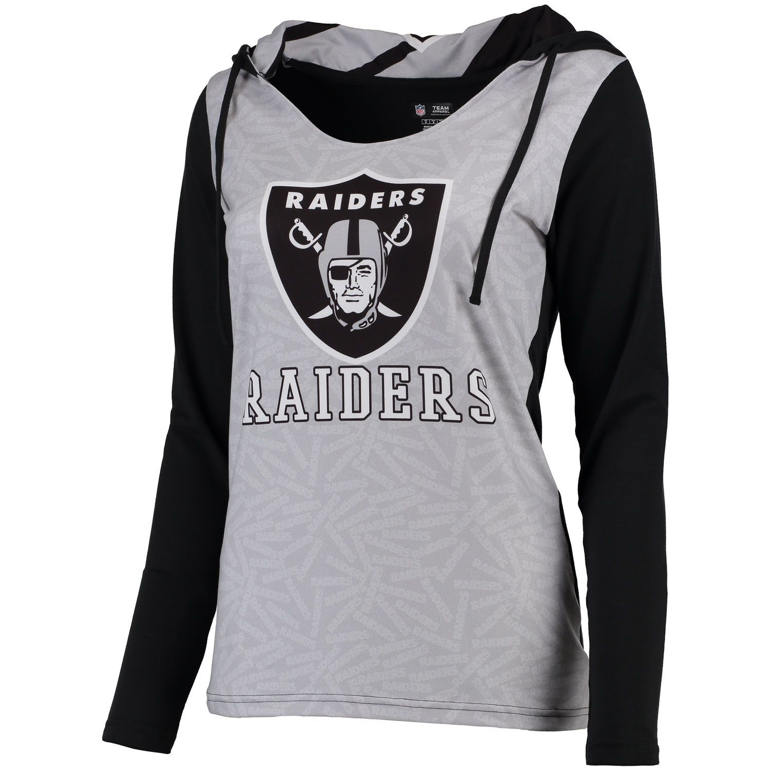 Women s Concepts Sport Silver Black Oakland Raiders Dynamic Long Sleeve  Hooded T-Shirt 269541716