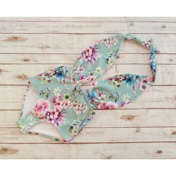 Swimsuit High Waisted Vintage Style One Piece Retro Cute Swimming Costume Pink Paisley Floral Print Bathing Suit Swimwear Spring Break