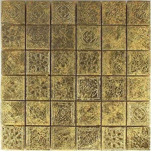 Keramik Effekt Mosaik Fliesen Gold Ornament 48x48x10mm   House ...