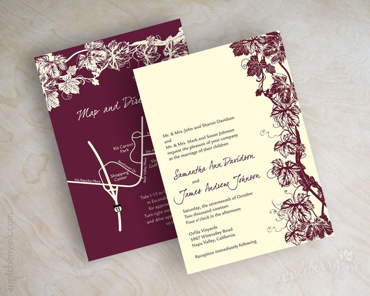 Wine, vinyard, burgundy and ivory wedding invitations, wedding ...