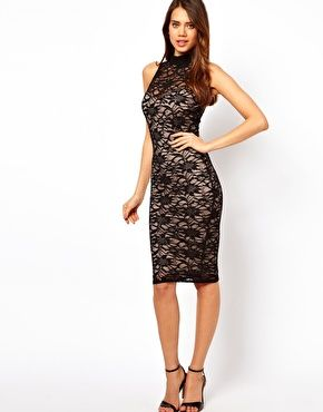 Enlarge Lipsy Midi Lace Dress with High Neck