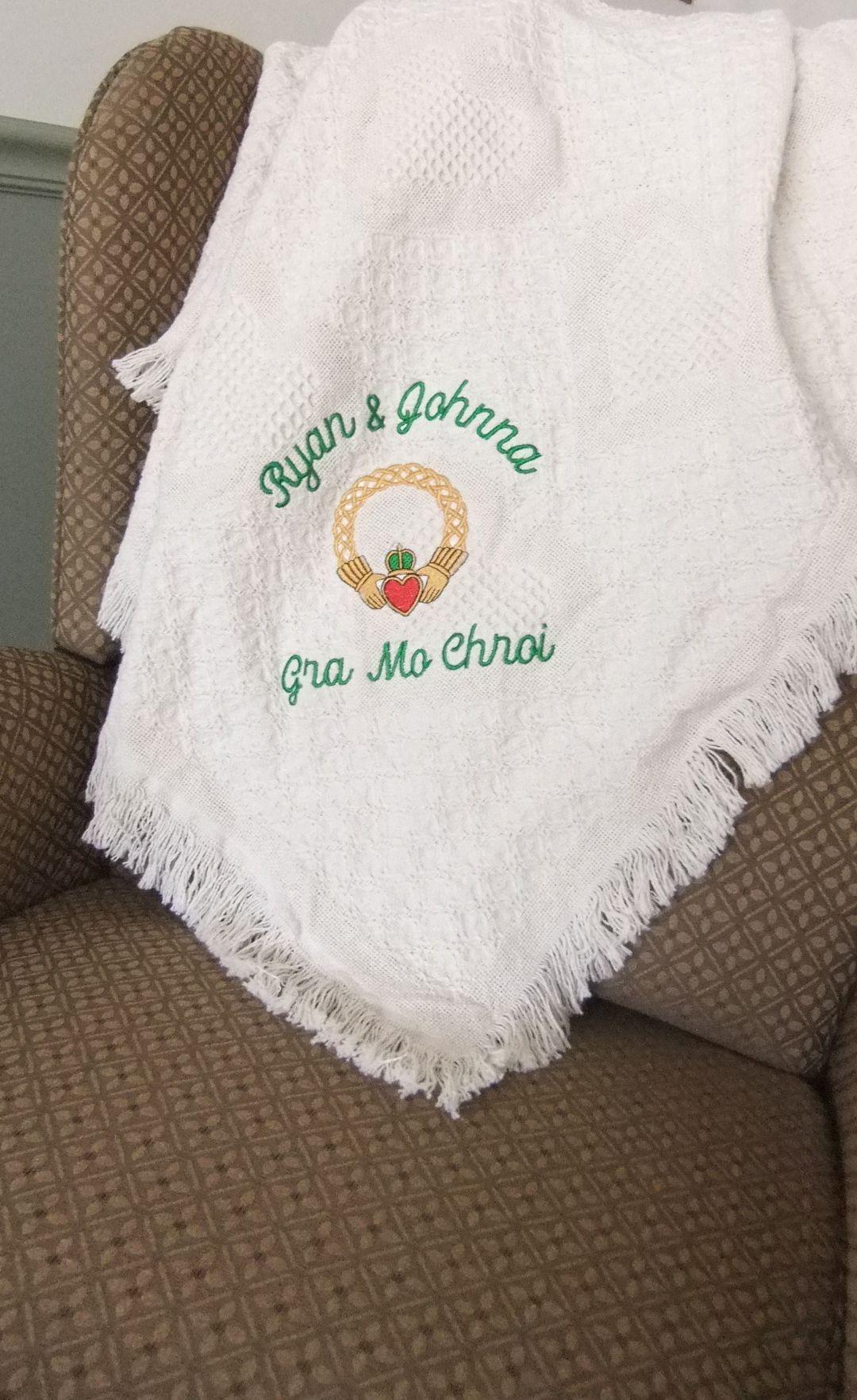 CustomMade Irish Wedding Blanket. Personalized Wedding
